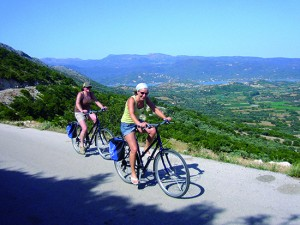Greek Cyclades CYC View Mountains Cyclists